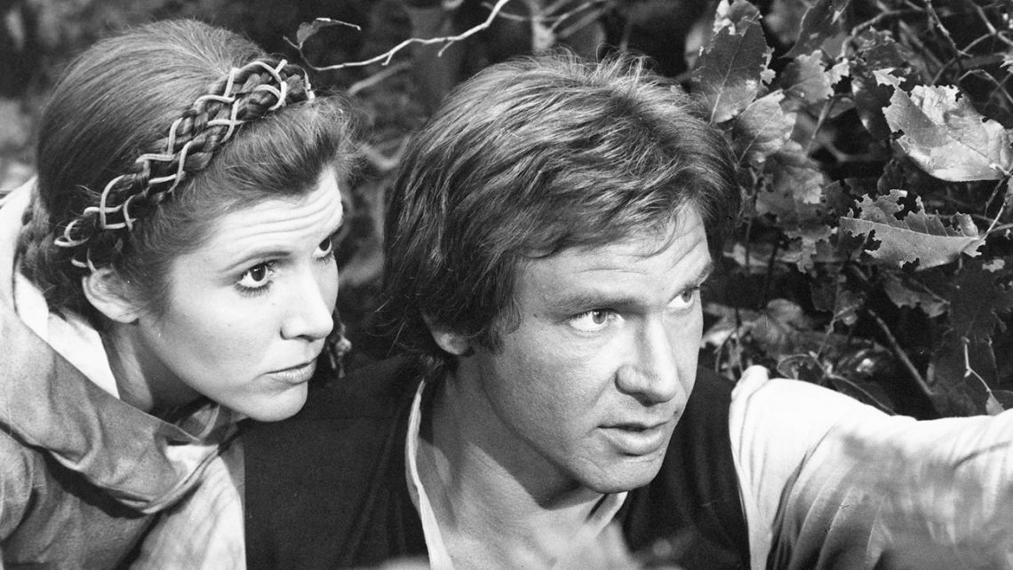 Star Wars: Episode VI - Return of the Jedi (1983)  Directed by Richard Marquand Shown from left: Carrie Fisher, Harrison Ford