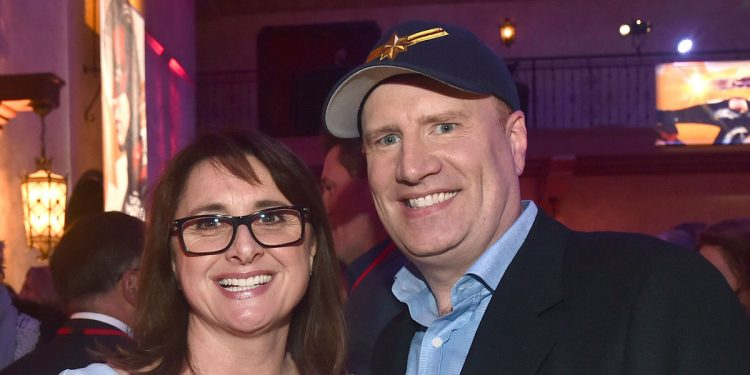 "HOLLYWOOD, CA - MARCH 04:  (L-R) Executive Producer Victoria Alonso and President of Marvel Studios/Producer Kevin Feige attend the Los Angeles World Premiere of Marvel Studios' ""Captain Marvel"" at Dolby Theatre on March 4, 2019 in Hollywood, California.  (Photo by Alberto E. Rodriguez/Getty Images for Disney)"